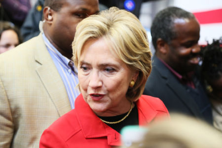 Hillary Clinton campaigning in 2016