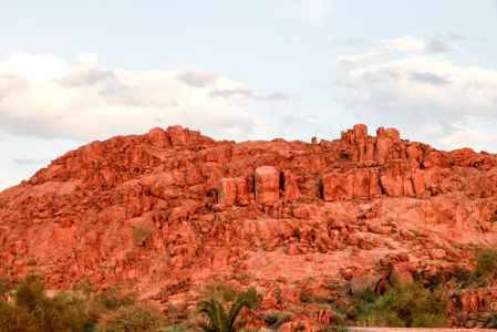 The red granite glowing in the setting sun.