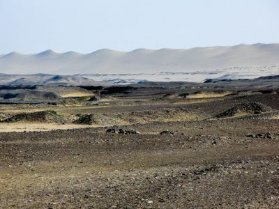 Sand dunes are looming in the distant.