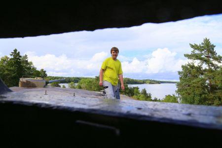 Utsikt från ett av pansartornen, varifrån ryssen skulle siktas.