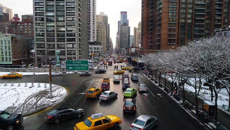 Vy över Manhattan från linbanan till Roosevelt Island.